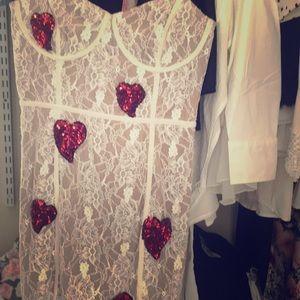 For Love & Lemons Heart Sequin Lace Dress